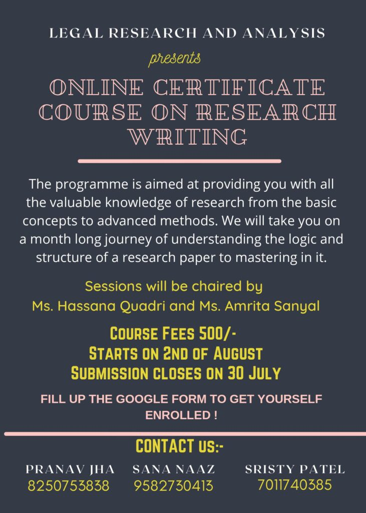 CERTIFICATE COURSE IN RESEARCH WRITING