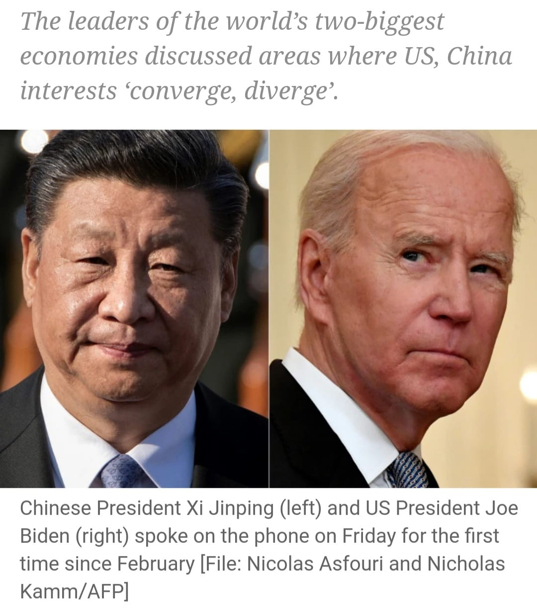 Biden and Xi speak on phone for the first time in seven months